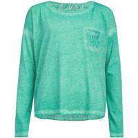 Full Tilt Crochet Back Girls Mineral Wash Tee Green  In Sizes