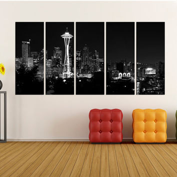 Seattle skyline wall art canvas print,  Extra Large wall art Print, Seattle  photo canvas black and white home wall art no:1s51