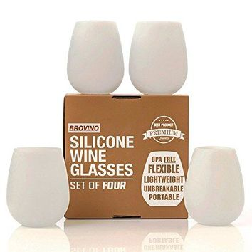 Silicone Wine Glasses-Set of 4-Unbreakable Outdoor Rubber Wine Cups: 14 oz, Clear Silicone.