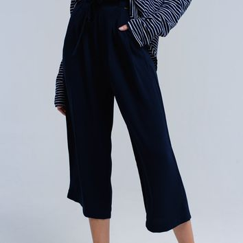 Navy pants with ribbons