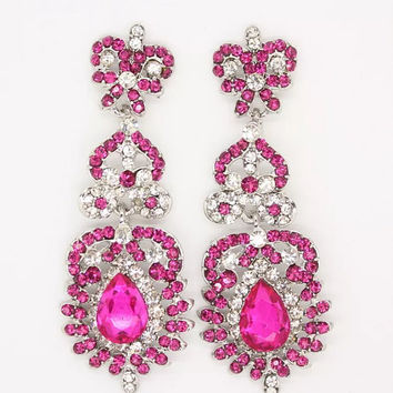 Stunning Hot Pink Silver Diamante Gem Jewel Encrusted Drop Dang