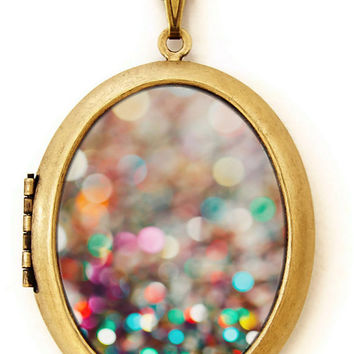 Photo Locket - Partay - Colorful Confetti Abstract Pretty Photo Locket Necklace
