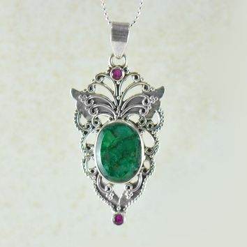 Free Spirit Raw Emerald and Ruby Butterfly Necklace Sterling Silver
