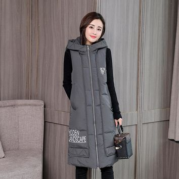 KUYOMENS Fashion Women Vests Waistcoat Winter Mid-long Down Cotton Padded Vest Female Sleeveless Jackets Hooded Coat
