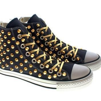 studded converse gold cone with converse high top navys by customduo on etsy