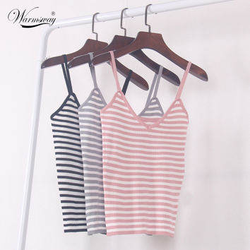New 2016 Women Harajuku Sexy V neck Striped Bustier Casual Crop Top Tank Bralette Brandy Melville Knitted Camis Ts-010