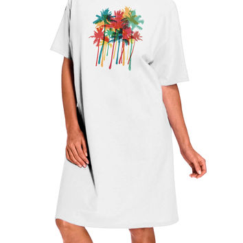 Paint Splash Palm Trees Adult Night Shirt Dress - White - One Size