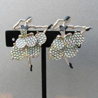 Pair BALLET Dancer Scatter Pins 1950's Vintage Glitter Honeycomb Lucite