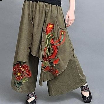 70s Ethnic Wide Leg Embroidery Green Black Harem Pants