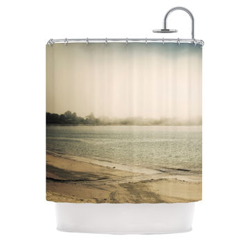 "Jillian Audrey ""Stormy Coast"" Brown Coastal Shower Curtain"