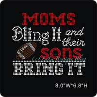 Football MOM iron on hot fix rhinestone heat transfer - football appliqué - moms bling it and their sons bring it rhinestone hotfix heat tra