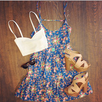 Brandy Floral Dress in Blue