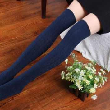 JECKSION 2016 Winter Fashion Women Socks New Cotton Women Knit Over Knee Thigh Spiral Pattern High Boot Socks #LYW