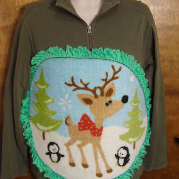 Fluffy Reindeer Mens Christmas Sweater