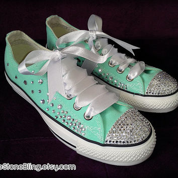 White Bling Mint Green Converse   from LoveStoneBling on Etsy 99aca7869525