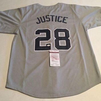 ONETOW David Justice Signed Autographed New York Yankees Baseball Jersey (JSA COA)