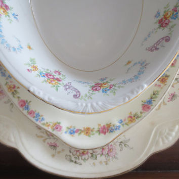 Mismatched Floral China Serving Dishes - Place Settings, Serving, Tea party, Bridal Shower, Dinner Party Decor