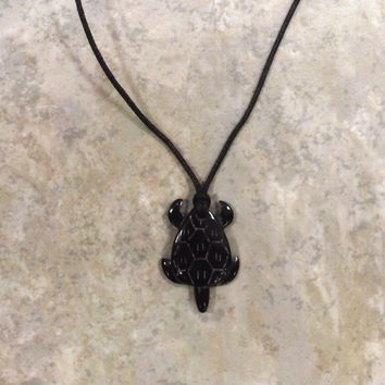 Buffalo Horn Black Honu Adjustable Black Necklace