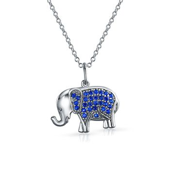 Elephant Up Trunk Blue Pendant Necklace Sapphire CZ Sterling Silver