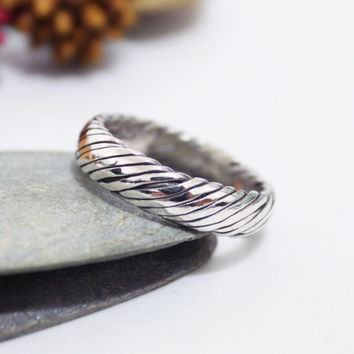 Sterling Silver Bold Twist Ring/Unisex ring/ Rustic Ring/ Simple Ring/ Silver Ring