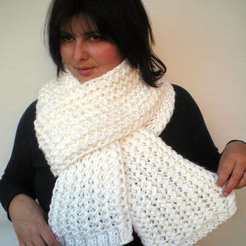 White Ivy Scarf Soft mixed  Wool Big  Neckwarmer Women/Men Fashion  Chunky  Knit  Scarf NEW