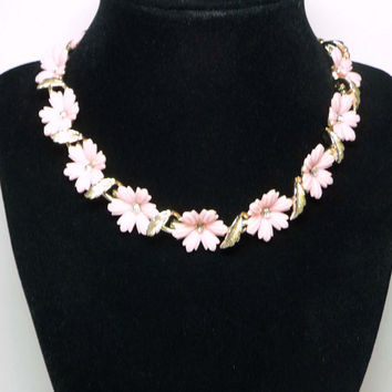 Pink Plastic Flower Necklace - Choker Style 1950's era Jewelry
