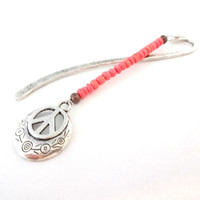Silver Metal Peace Sign Bookmark, Coral Beaded Bookmark, Gifts for Bookworms