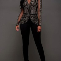 Black Patchwork Rhinestone Zipper Buttons Elastic Waist Long Jumpsuit