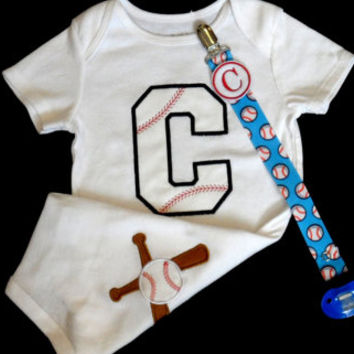Monogram Baby Boy Clohes Baseball One-Piece Boy Outfit with bat and Ball on the back Perfect for Twins ....Sports  Gift Set