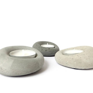 Concrete Tealight Holder Urban Gray Candle Holder Home Decor Industrial Modern Design