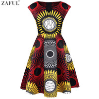 ZAFUL Women Africa National Floral Print Vintage Dress V Neck Short Sleeves A line Party Rockabilly Retro XL Feminino Vestidos