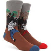 """New"" Socks Old School Fight Crew Socks - Mens Socks - Lt Blue/Red - One"