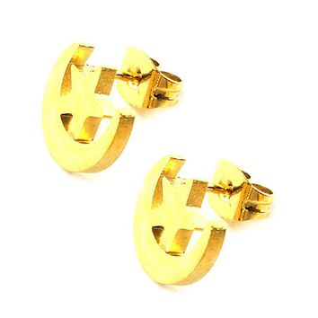 Hot 12Pairs Fashion 10 * 9mm Gold Moon Pentagram stainless steel stud earrings, fashion earrings
