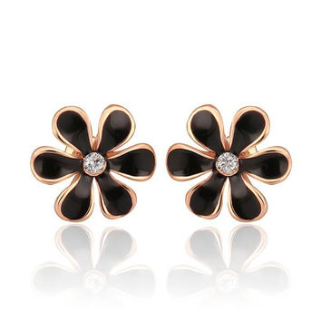 18K Rose Gold Onyx Floral Petal Stud Earrings Made with Swarovksi Elements