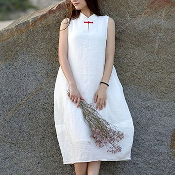 Women Ramie Cotton Casual Loose Fit Plus Size Dress White