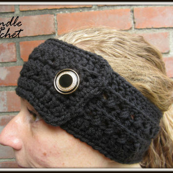 Crochet Headband Earwarmer Accessory Warm for Fall Winter with Gold One Button Christmas Gift Present Black Acrylic Yarn Skinny Thin
