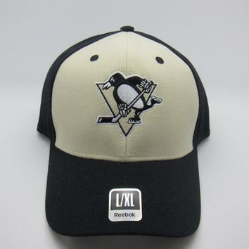 Pittsburgh Penguins Beige/Black Panel Reebok Flex Fit Hat Size Large/Extra Large