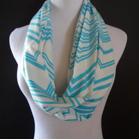 NEW COLOR   Super Cute  New Jersey Knit Azure Turquoise  Blue & Off White  Infinity Chevron Fashion Scarf  Free Shipping