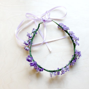 Lavender Floral Crown. everyday flower crown, Bohemian, Bridesmaid Headpiece, Bridesmaid Flower Halo, wedding. Fall, flower girl,