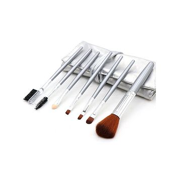 7 Piece Makeup Brush Set With Silver Leather Case