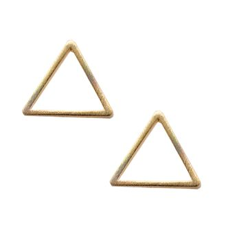 Handcrafted Brushed Metal Hollow Triangle Stud Earrings