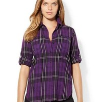 Lauren Ralph Lauren Plus Plaid Cotton Work Shirt