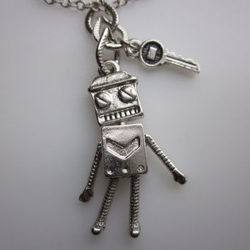 Geeky Robot Bestfriend Necklace in Silver Finish