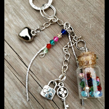 "Hanging Pendant Chain Necklace with Swarovski hanging Beads Glass Jar Key and Locket charms Heart love charm 16"" silver chain length"