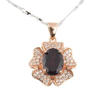 Genuine gemstone garnet rose gold over silver necklace