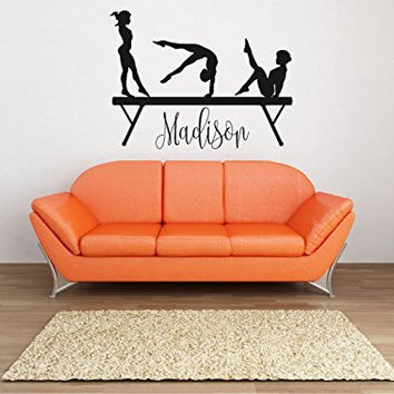 Gymnasts Silhouette on Balance Beam with Optional Custom Monogram Name Vinyl Wall Words Decal Sticker Graphic