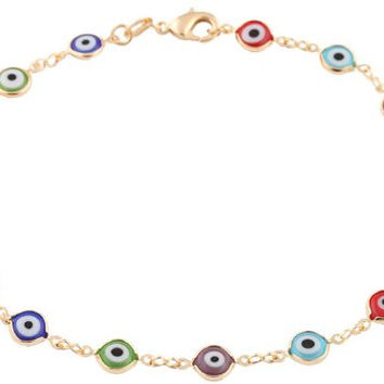 Gold Overlay with Multi Colors Mini Evil Eye Style 9.5 Inch Anklet