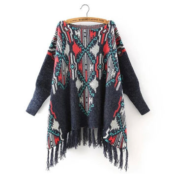 Tassels Knit Pullover Batwing Sleeve Scarf Women's Fashion Sweater [5013100420]