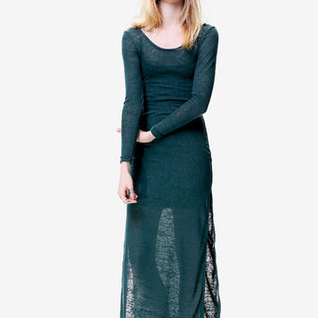 Dark Green Knit Maxi Dress // Sheer Long Sleeve Double Slit // Basic Comfy Slip On // Breezy Summer