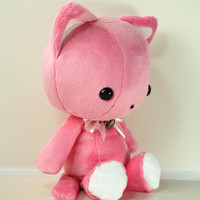 Cute Bellzi Stuffed Animal Pink w/ White Contrast Cat Plushie Doll - Kitti